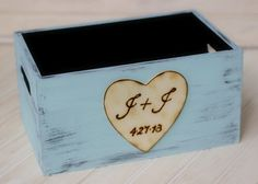 Personalized Wedding Program Basket Holder Card Box Crate Rustic Ceremony Decor (YOUR COLOR CHOICE)