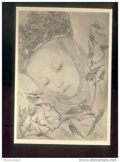6 cartes de Sulamith WÜLFING sous pochette cartonnée - Blüten ( gothique fleurs jeunes filles Otto Schulze 1935)