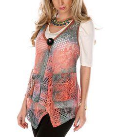 Look what I found on #zulily! Orange & Black Sheer Patchwork Knit Tunic #zulilyfinds