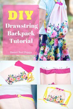 DIY Girls Drawstring Backpack Tutorial Spoonflower Fabric Custom Printin
