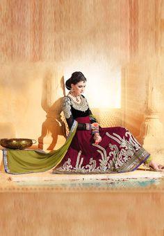 #Burgundy Faux Georgette #Anarkali Churidar Kameez @ $149.62