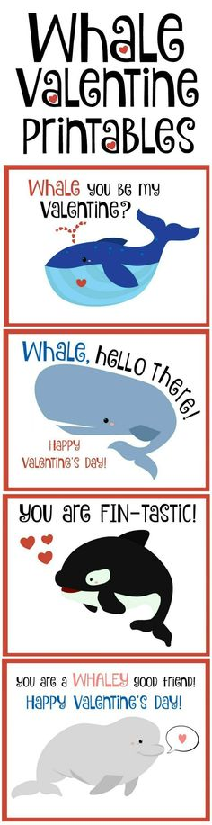 Whale valentines with free printables. Four designs to choose from.