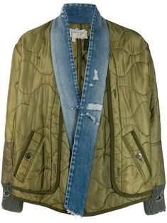 Greg Lauren Distressed Denim And Jersey-panellled Quilted Ripstop Jacket In Green Dope Fashion, Denim Fashion, Street Fashion, Fall Fashion, Fashion Tips, Fashion Trends, Distressed Denim, Work Wear, Bomber Jacket