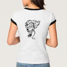 Evil clown Women's BellaCanvas Ringer T-Shirt - diy cyo customize unique special