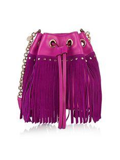 Love this color.Diane von Furstenberg Disco Fringed Suede and Leather Shoulder Bag Purple Suede, Purple Leather, Leather Fringe, Soft Purple, Fringe Purse, Fringe Bags, Crossbody Shoulder Bag, Leather Shoulder Bag, Leather Crossbody