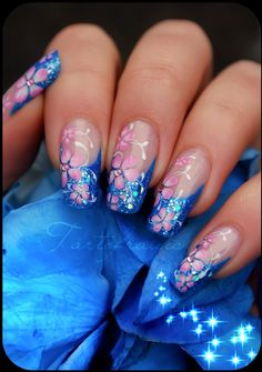 Pink and Blue Nail Art *i would suffer long nails for these Fabulous Nails, Gorgeous Nails, Pretty Nails, Nail Art Designs, Colorful Nail Designs, Hot Nails, Hair And Nails, Nagellack Design, Manicure E Pedicure