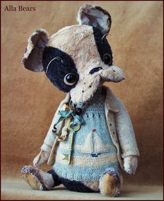 """by Alla Bears original Lg artist ooak Vintage Puppy dog collectible 10.5"""" Antique hand made toy art doll gift pet home decor pillow"""