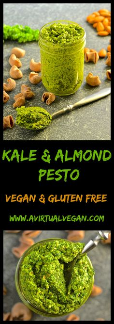 This Kale & Almond Pesto makes a wonderful alternative to traditional basil pesto plus it's cheaper to make & it's dairy free. Stir through freshly cooked pasta for a super fast & nutritious meal! #pesto #vegan #kale #almond