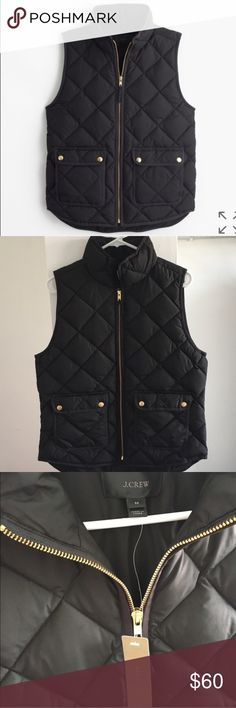 J.Crew Excursion Quilted Down Vest RETAIL. Black. Our customer-favorite down vest that's slim and lightweight, but still warm enough to keep chilly weather at bay—now in new, perfect-for-fall colors to choose from.  Down-filled poly. Standing collar. Zip closure. Pockets. Machine wash. Import. J. Crew Jackets & Coats Vests