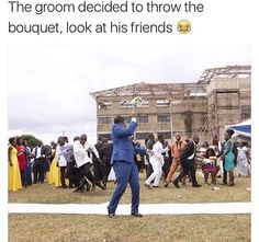 Groom throws bouquet, friends go all out trying to catch it xD