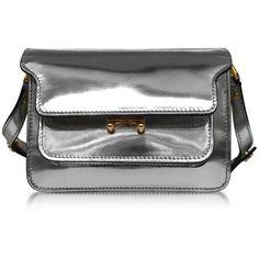 Marni Handbags Silver Laminated Leather Mini Trunk Bag (24.087.290 IDR) ❤ liked on Polyvore featuring bags, handbags, shoulder bags, leather handbags, silver shoulder bag, leather cross body purse, leather purse and crossbody handbags