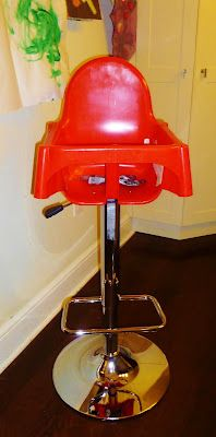 I NEED THIS!!! A bar height high chair.  I LOVE that it's one piece and not strapped down.  Next project...