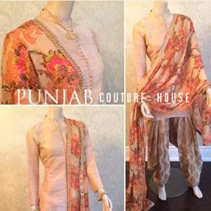 These soft colors, florals and brocade salwar by Punjab Couture House is everything! Pakistani Outfits, Indian Outfits, Indian Clothes, Indian Attire, Indian Wear, Ethnic Fashion, Indian Fashion, Patiala Dress, Sharara