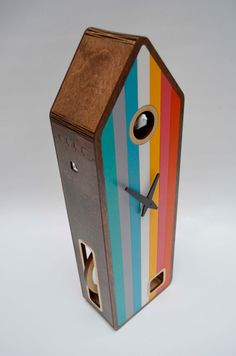 Color-House in Walnut Modern Cuckoo clock by pedromealha on Etsy