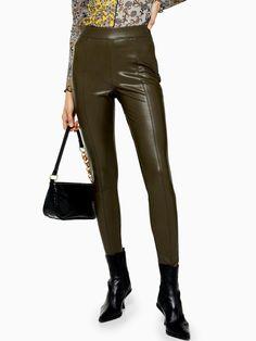 Topshop Topshop PU Skinny Trousers - Khaki | littlewoodsireland.ie Black Biker Boots, High Leg Boots, Faux Leather Leggings, Leather Pants, Color Khaki, Long Toes, Black Ruffle, Slim Legs, Skinny Fit