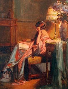 farfallarte:  Evening Reading by Delphin Enjolras ..(May 13, 1865 COUCOURON –1945 TOULOUSE) was a French academic painter. Enjolras painted ...