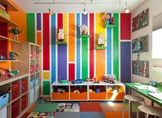 Ikea Kids Bedroom Sets Design Ideas, Pictures, Remodel, and Decor - page 11 Small Playroom, Colorful Playroom, Playroom Design, Playroom Decor, Kids Room Design, Playroom Ideas, Colorful Rooms, Kids Playroom Colors, Playroom Paint