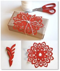 Spice up a brown paper and string parcel with some snowflakes.. diy