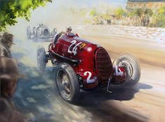 Tazio Nuvolari - 1936 Hungarian GP by donpackwood on DeviantArt Hungarian Grand Prix, Vintage Italian Posters, Automobile, Alfa Romeo Cars, Garage Art, Vintage Race Car, Vintage Auto, Beautiful Posters, Car Painting