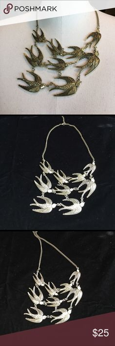 Flock of swallows Antique bronze metal, statement necklace  that is sure to be a great conversation piece. Swallows have many symbolic meanings: for sailors: land is near, also for love and care for family and friends. Jewelry Necklaces