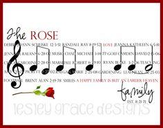 Family Music Staff, Digital Typography Art, 11x14. $50.00, via Etsy.