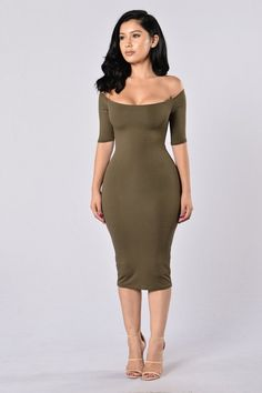 - Available in Red Brown and Olive - Off the Shoulder - Midi Length - Lined - Made in USA - 95% Viscose, 5% Spandex; Lining: 95% Rayon, 5% Spandex