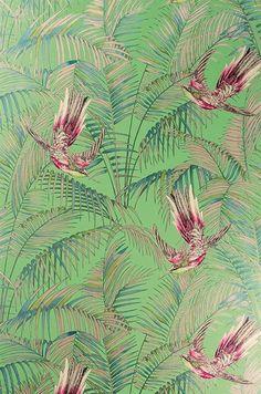 Tapet 13677: Sunbird Grass/Cerise/Metallic Gilver från Matthew Williamson - Tapetorama