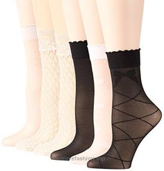 PEDS Women's Trouser Socks 6 Pairs, Pink/Ivory/Black, Shoe Size: 5-10  BUY NOW     $15.00    Put some spunk in your step with our classy assortment of trouser socks by PEDS. Topped with a thin stretchy scalloped or lace band, these socks lend a fashionable ye ..