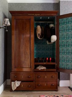 Antique armoire lined in printed cotton by Violet & George Photography by Sarah Hogan Armoire Antique, Antique Wardrobe, Wooden Wardrobe, Bedroom Wardrobe, Vintage Wardrobe, Armoire Wardrobe, Vintage Closet, Bedroom Vintage, Interior Paint Colors