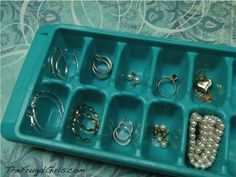 Ice Cube Tray Organizing Jewelry.  Would work with organizing desks, the kitchen junk drawer....