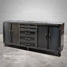 """Big bar height Modern Industrial Credenza, measures 92"""" (W) x 25"""" (D) x 42"""" (H) and weighs 500lbs 💪. We built this for a plumbing and pipe-fitting client, hence the pipe handles. Features all steel construction and space for a cooler/fridge within. MADE IN HOUSTON, TX USA 🇺🇸 Modern Industrial Furniture, Industrial Storage, Unique Furniture, Industrial Lamps, Furniture Vintage, Plumbing Pipe Shelves, Steel Panels, Pipe Furniture, Space Saving Furniture"""