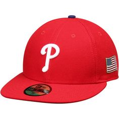 Philadelphia Phillies New Era Authentic Collection On-Field US Flag 59FIFTY Fitted Hat - Red