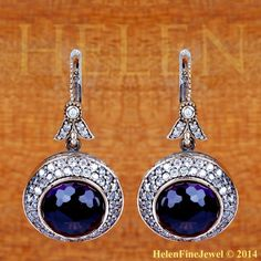 Hurrem Sultan Earrings Round Shape Amethyst Color Look  Ottoman Silver Jewelry
