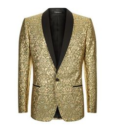Dolce and Gabbana Embroidered Lamé Suit Jacket metallic Gold men's Floral Suit Men, Gold Tuxedo Jacket, Formal Jackets For Men, Fashion Pants, Men's Fashion, Fashion Ideas, Dolce And Gabbana Suits, Fancy Suit, Leopard Print Jacket