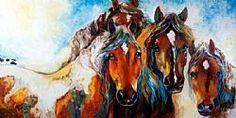 Art: FOUR WILD MUSTANGS by Artist Marcia Baldwin