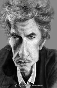 Caricature de Bob Dylan par Jiwenk Wae