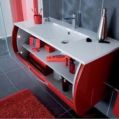 Salle de bain - Meuble ALLURE - ROUGE le meuble innovant qui a le sens de l'ouverture: coulissant et équipé d'éclairage intérieur c'est LE meuble du futur à avoir chez soit. Ouverture intuitive et moderne, ce meuble saura s' adapter à la perfection à vos envies. http://www.lapeyre.fr/bains/meubles/design/allure/modele-allure-meubles-sous-vasque.html