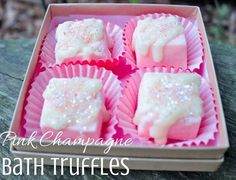 Pink champaigne bath truffles complete with pink wrappers make for very lush bath or impressive gift.