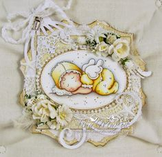 Baby card by LLC Dt Member Tina Tinchy Makuc. Papers from Maja Design's Vintage Spring Basics collection.