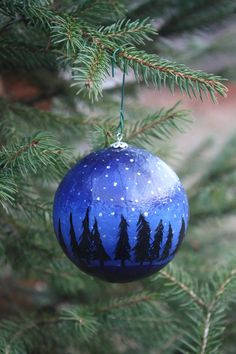 Hand painted Christmas ornament by roseymorris on Etsy, #hvnyteam #cybermonday