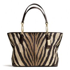 The Madison East/west Tote In Zebra Print Fabric from Coach Cheap Coach Purse Handbags Coach Handbags, Coach Purses, Purses And Handbags, Tote Handbags, Coach Bags Outlet, Cheap Coach Bags, Leather Crossbody Bag, Leather Bag, Leather Wallets