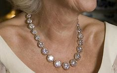 The Duchess of Cornwall wearing the Diamond Collet Coronation Necklace.