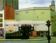 Edward Hopper, The Circle Theatre, olieverf op doek, privécollectie. American Realism, American Artists, David Hockney, Edouard Hopper, Edward Hopper Paintings, Ashcan School, Inspiration Artistique, Social Realism, Canvas Art