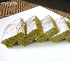 pistachio barfi. Made this, would add a few drops of ghee in the end to give it that Indian finish!