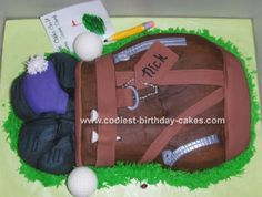 Golf Bag Cake: This golf bag cake was made using the Wilton Golf Bag Pan. It just came out this year and I've been waiting for a good reason to use it!  Everything is