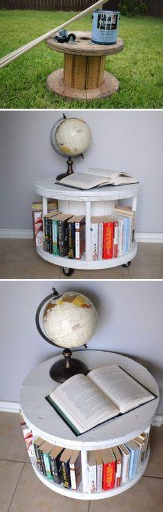 Easy DIY Spool Bookcase.