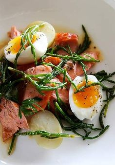 Smoked trout with samphire and soft-boiled egg