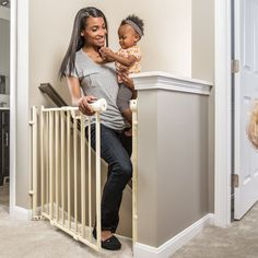 One of our Best Baby Gates of the Year, Check out the Evenflo Easy Walk Thru Top Of Stairs Gate : Indoor Safety Gates : Baby Top Of Stairs Gate, Baby Gate For Stairs, Stair Gate, Baby Safety, Child Safety, Best Baby Gates, Toddler Proofing, Metal Gates, Pet Door
