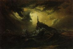 Carl Blechen, Stormy Sea with Lighthouse (Stürmische See mit Leuchtturm Nocturne, Pagan Metal, Carl Blechen, Romanticism Paintings, Dark Romanticism, Stürmische See, Image Fruit, Sea Storm, Lighthouse Painting