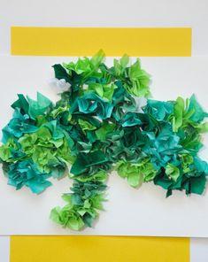 Add some texture to your #StPatricksDay crafts with this #tissuepaper #shamrock. #craftsforkids #fourleafclover